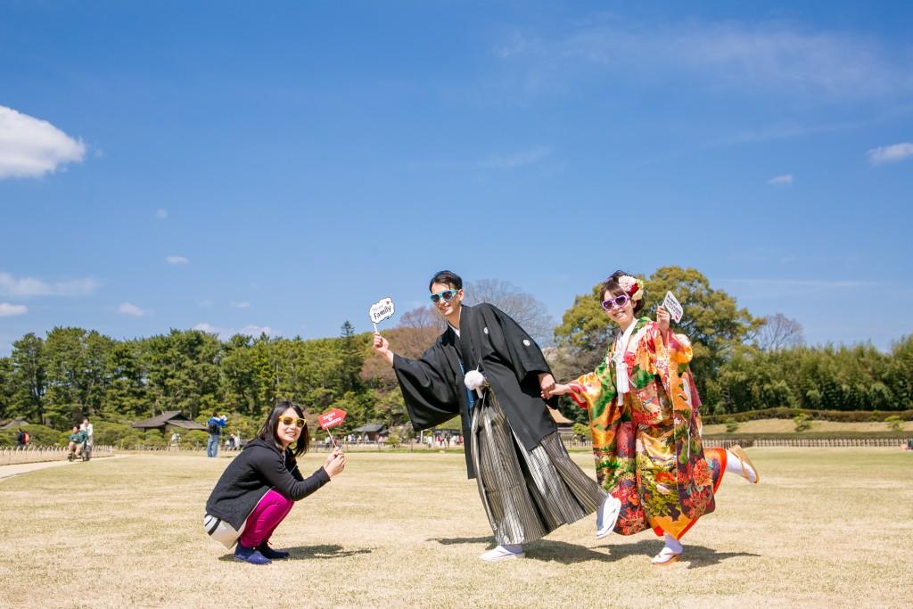 岡山倉敷で前撮り別撮りならNEMURAFILMS後楽園和装前撮りサングラス