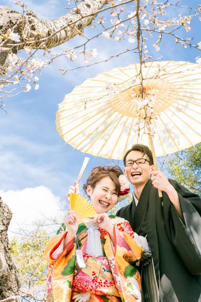 岡山倉敷で前撮り別撮りならNEMURAFILMS後楽園和装前撮り和傘