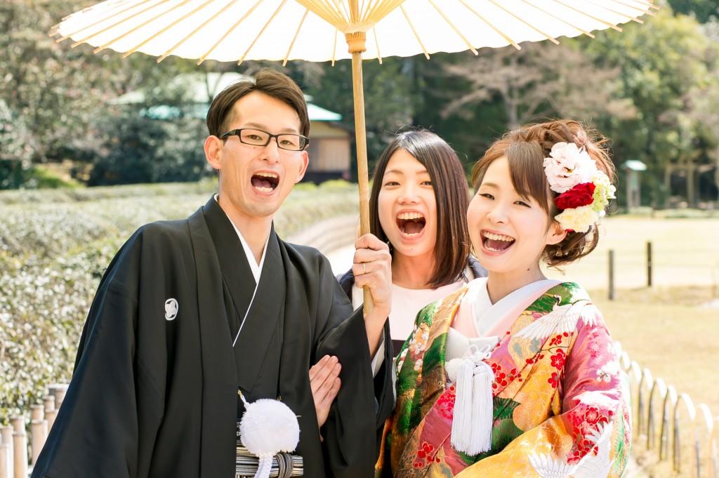 岡山倉敷で前撮り別撮りならNEMURAFILMS後楽園和装前撮り友達も一緒に