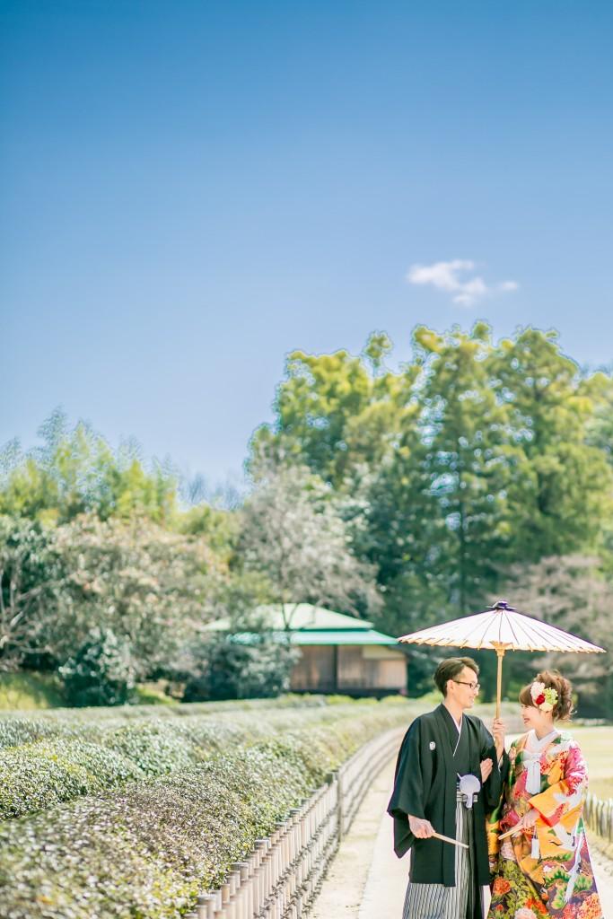 岡山倉敷で前撮り別撮りならNEMURAFILMS後楽園和装前撮り茶畑散歩
