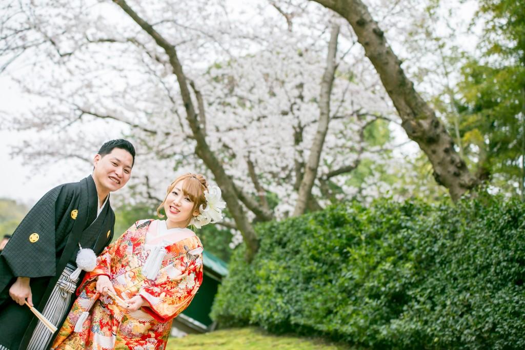 岡山倉敷で前撮り別撮りならNEMURAFILMS後楽園和装前撮り桜ななめ