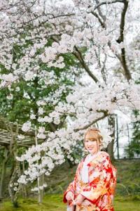 岡山倉敷で前撮り別撮りならNEMURAFILMS後楽園和装前撮り桜新婦さんソロ