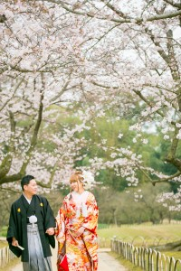 岡山倉敷で前撮り別撮りならNEMURAFILMS後楽園和装前撮り桜並木散歩