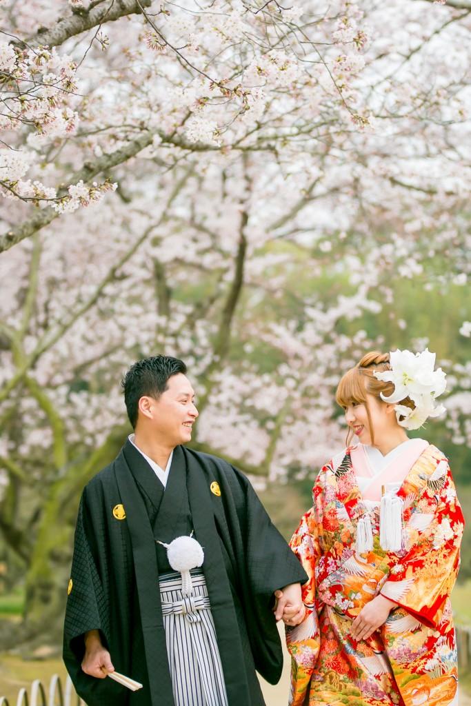 岡山倉敷で前撮り別撮りならNEMURAFILMS後楽園和装前撮り桜並木散歩アップ