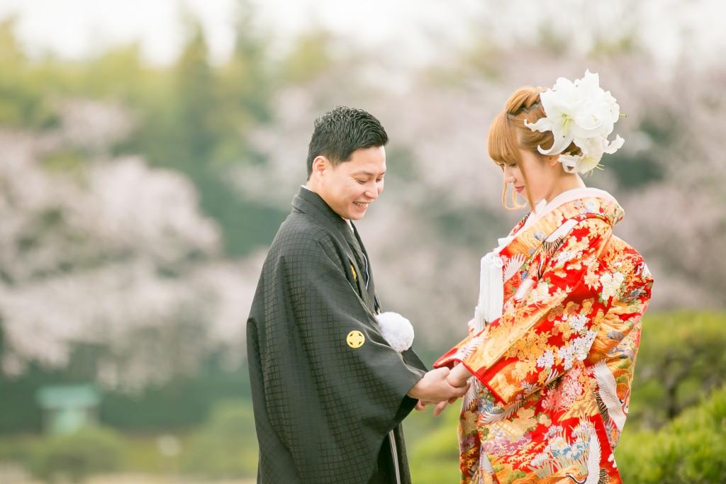 岡山倉敷で前撮り別撮りならNEMURAFILMS後楽園和装前撮り桜バック