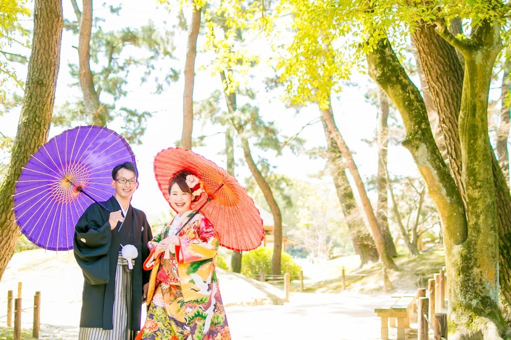 岡山倉敷で前撮り別撮りならNEMURAFILMS後楽園和装前撮り和傘ダブル