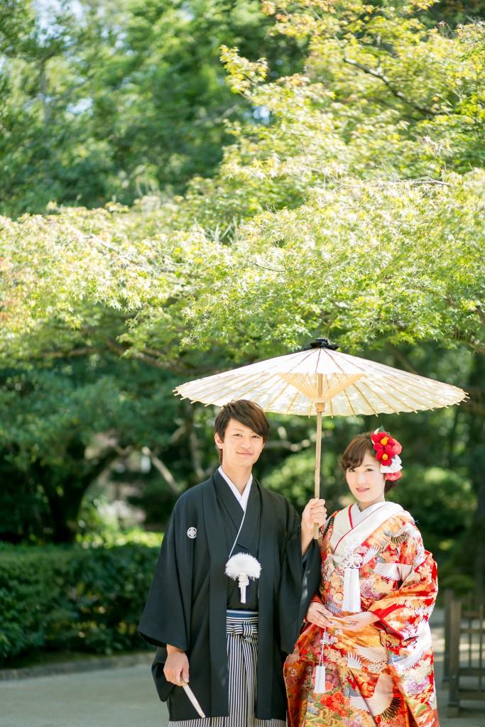 岡山倉敷で前撮り別撮りならNEMURAFILMS後楽園和装前撮り和傘正式ポーズです。