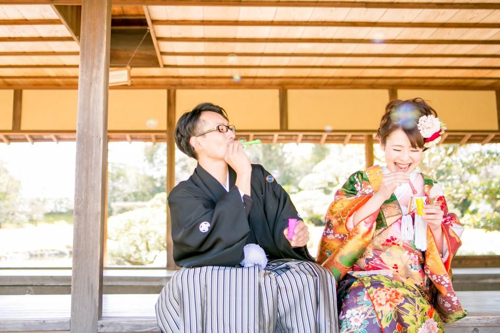 岡山後楽園和装前撮りカップルしゃぼんだま12016/07/11