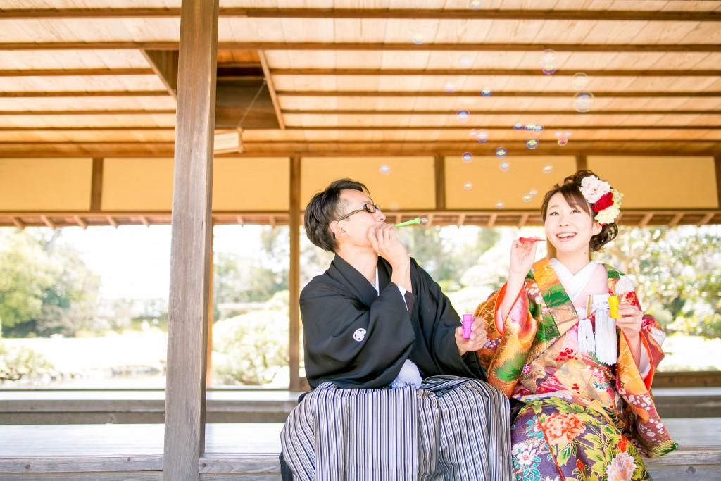 岡山後楽園和装前撮りカップルしゃぼんだま22016/07/11