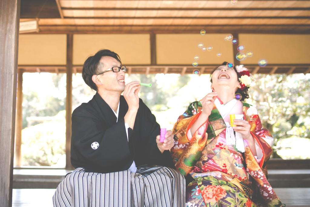 岡山後楽園和装前撮りカップルしゃぼんだま32016/07/11